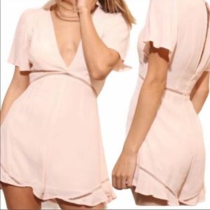 ASTR The Label Cadence Blush Pink Ruffle Romper